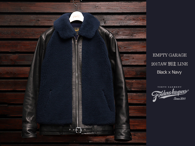 EMPTY GARAGE別注 FindersKeepers FK-GRIZZLY JACKET BLACK HORSEHIDE x NAVY SHEEPSKIN (11月末入荷予定)
